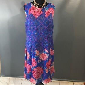 Isaac Mizrahi Sleeveless Floral Dress Size 14
